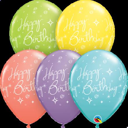 19167 Birthday Elegant Sparkles & Swirls latex balloon