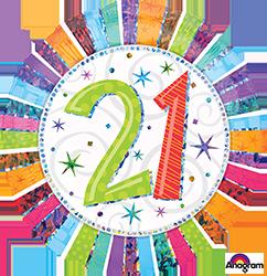 21 st Radiant Birthday Mylar Balloon