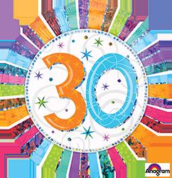 30 th Radiant Birthday Mylar Balloon