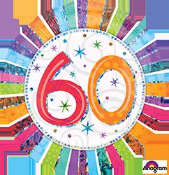 60 th Radiant Birthday Mylar Balloon