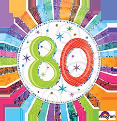 80 th Radiant Birthday Mylar Balloon