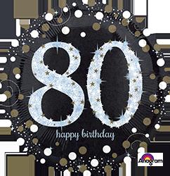 80 th Sparkling Birthday Mylar Balloon