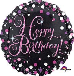 "18"" Pink Celebration happy birthday mylar 33782"