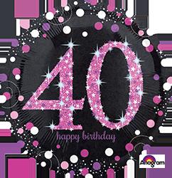 40 th Pink Celebration Mylar Balloon