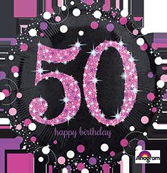 50 th Pink Celebration Mylar Balloon