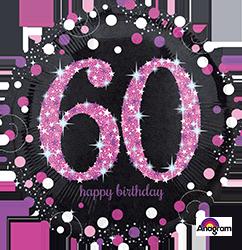 60 th Pink Celebration Mylar Balloon