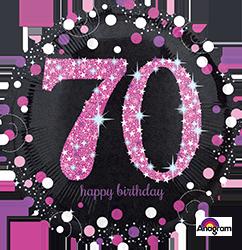 70 th Pink Celebration Mylar Balloon
