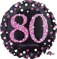 80 th Pink Celebration Mylar Balloon