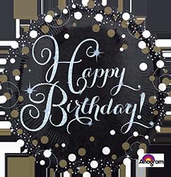 """18"""" Sparkling happy Birthday mylar 34062"""