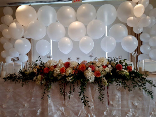 White Organic Wedding Table Backdrop