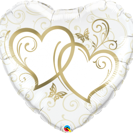 Entwined Hearts Gold Mylar Balloon