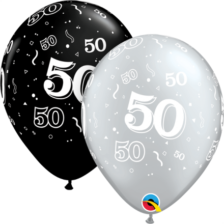 20486 #50 black and silver latex balloon