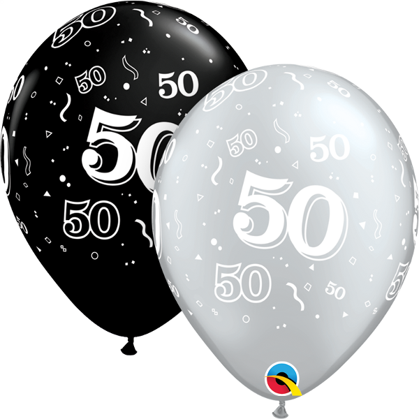 20486 #50 black and silver latex balloon