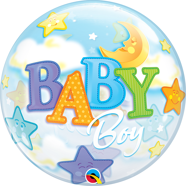 23597 Baby Boy Moon & Stars bubble balloon