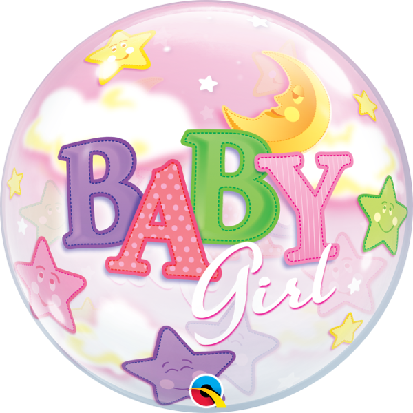 23598 Baby Girl Moon & Stars bubble balloon