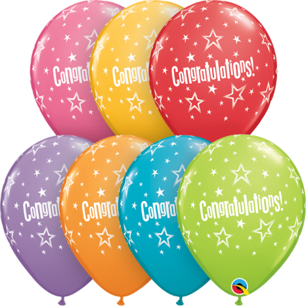 37447 Congratulations Star Patterns latex balloon