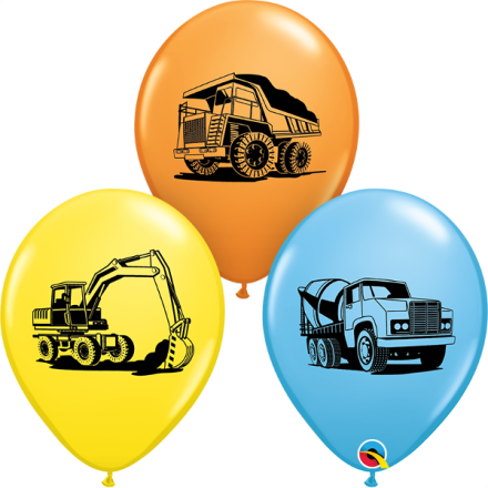 38081 Construction Trucks Assortment latex balloon