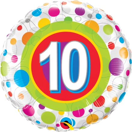#10 Colorful Dots Mylar Balloon