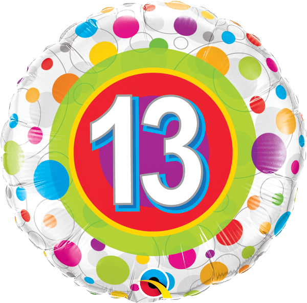 #13 Colorful Dots Mylar Balloon