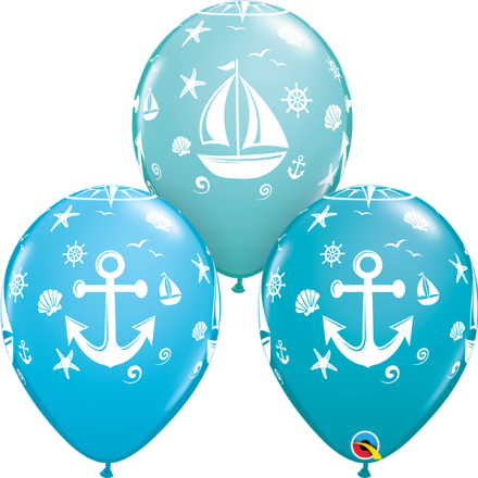 43430 Nautical Sailboat & Anchor latex balloon
