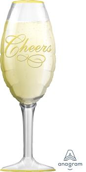 """06195 Champagne Glass 14"""" x 38"""" Mylar Balloon"""