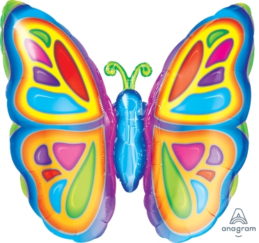 "Bright Butterfly 25"" x 25"" Mylar Balloon"