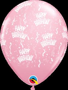 11756 Pink Birthday A Round latex balloon