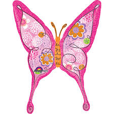 "Pink Butterfly 37"" x 28"" Mylar Balloon"