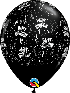 302184 Black Birthday A Round latex balloon