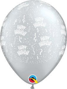 302184 Silver Birthday A Round latex balloon