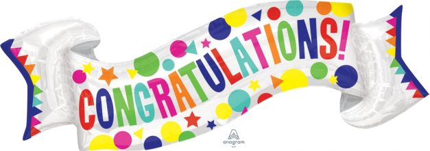 "Congratulations Banner 40"" x 19"" Mylar Balloon"