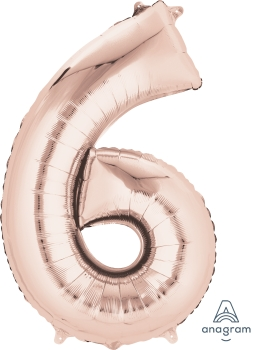 "36217 #6 Rose Gold 34"" Mylar Balloon"