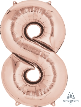 "36219 #8 Rose Gold 34"" Mylar Balloon"