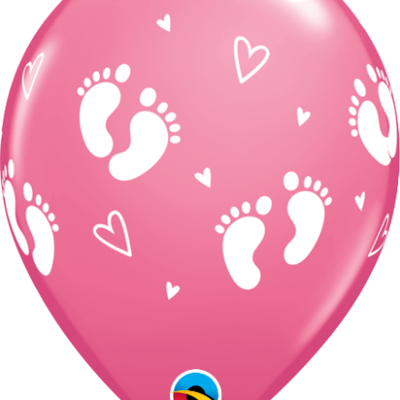 43418 Baby footprints rose latex balloon
