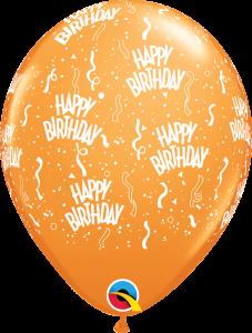 49607 Orange Birthday A Round latex Balloon