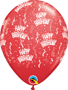 49607 Red Birthday A Round latex balloon