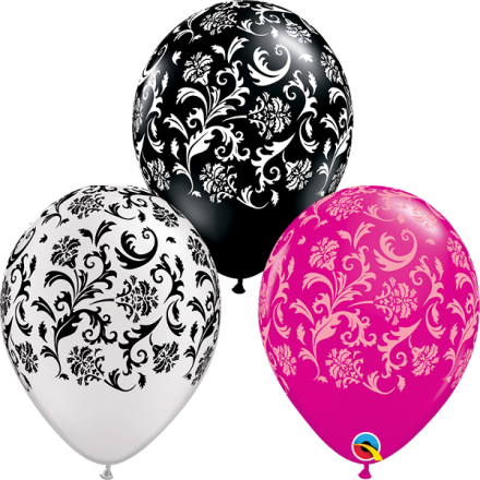 76881 Damask Print Assortment of Wild Berry, Pearl White, Onyx Black latex balloon