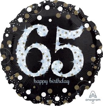 """65 th Sparkling Birthday 28"""" Mylar Birthday"""