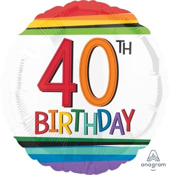 40 th Rainbow Birthday Mylar Balloon