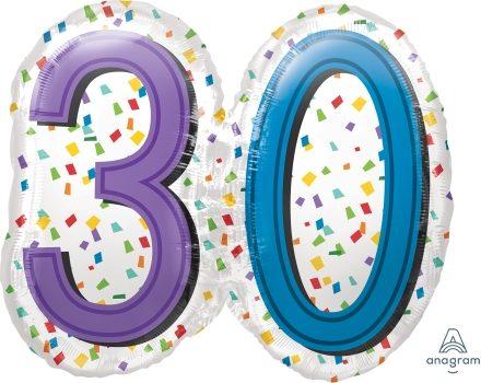 """30 th Rainbow Birthday 25"""" x 22"""" Mylar Balloon"""