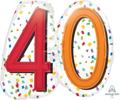 """40 th Rainbow Birthday 25"""" x 22"""" Mylar Balloon"""