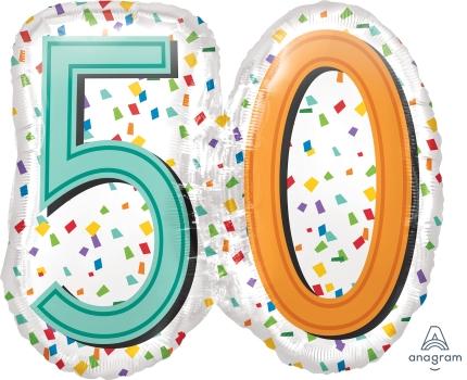 """50 th Rainbow Birthday 25"""" x 22"""" Mylar Balloon"""