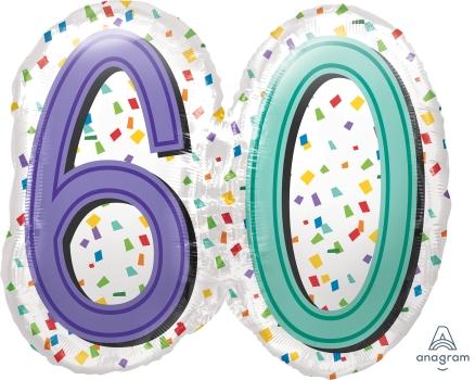 """60 th Rainbow Birthday 25"""" x 22"""" Mylar Balloon"""