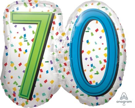 """70 th Rainbow Birthday 25"""" x 23"""" Mylar Balloon"""