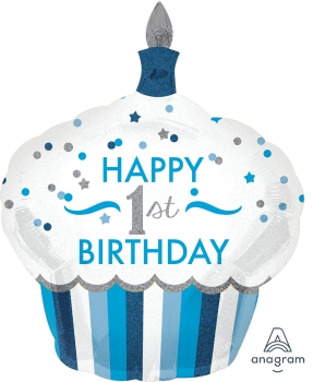 """34523 1st Birthday Cupcake Boy 29"""" x 36"""" Mylar Balloon"""