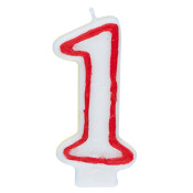 """#1 Red & White 2.5"""" Candle"""