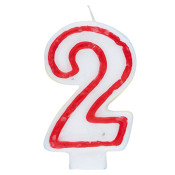 """#2 Red & White 2.5"""" Candle"""
