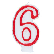 """#6 Red & White 2.5"""" Candle"""