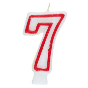 """#7 Red & White 2.5"""" Candle"""
