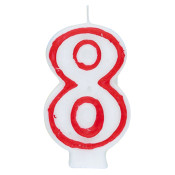 """#8 Red & White 2.5"""" Candle"""